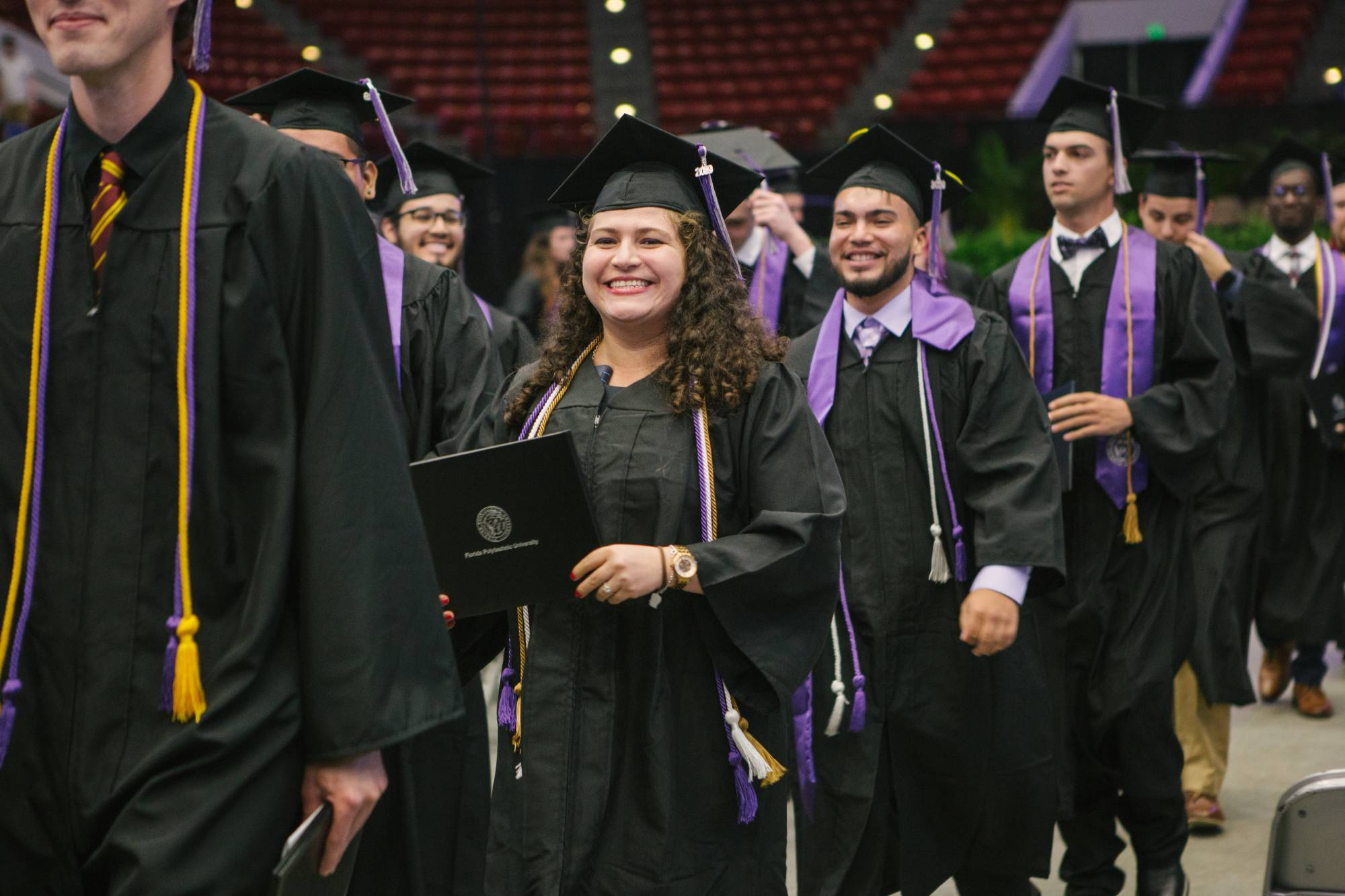 Students in line to walk across the state at the 2019 commencement ceremony.
