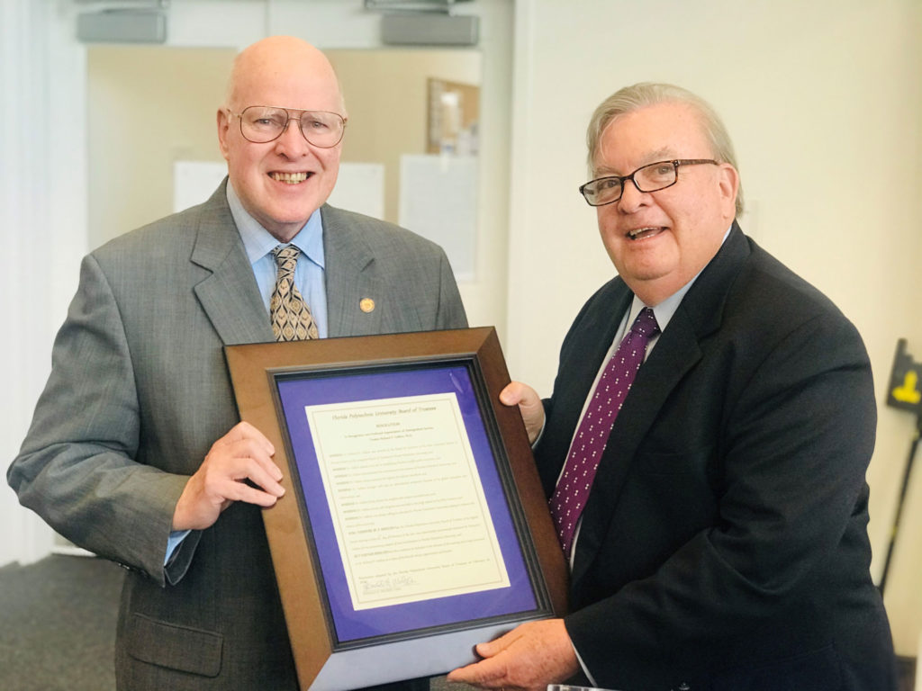 Founding trustee honored by Florida Poly Board of Trustees