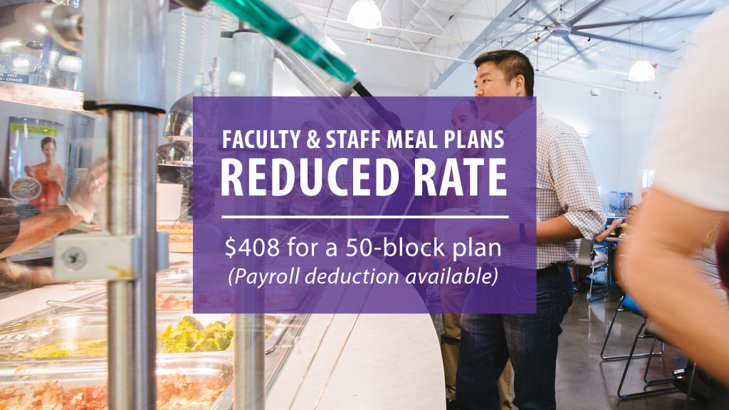 Faculty and Staff Meal Plan Discount