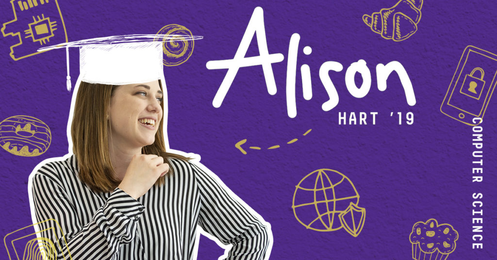 Photo and graphics of Alison Hart soon to be graduate