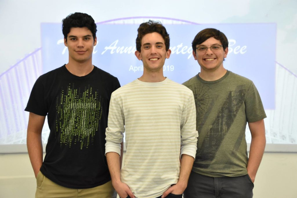 Florida Poly first, second, and third place winners of the 2019 integral bee competition.