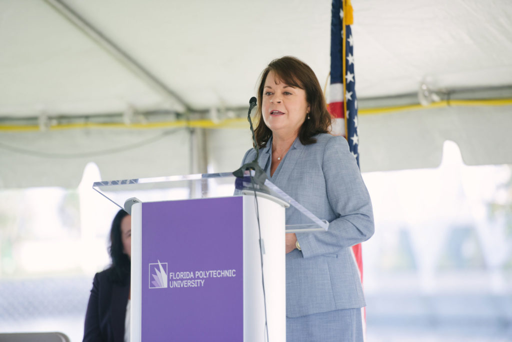 Rep. Colleen Burton, speaks at the Applied Research Center groundbreaking September 11, 2019.
