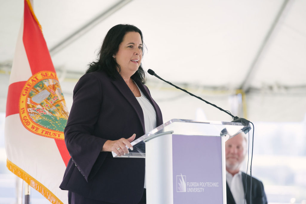 Sen. Kelli Stargel, speaks at the Applied Research Center groundbreaking September 11, 2019.