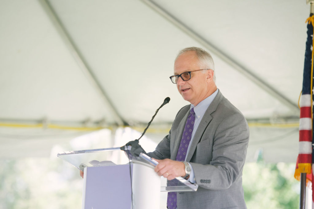 Florida Poly President Randy K. Avent, speaks at the Applied Research Center groundbreaking September 11, 2019.