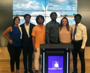 Florida Polytechnic University Rotaract Club members (from left), Maria Paula Gomez Jared Nurse; Troy Kelly, Sheldon Taylor, Vanessa Townsend, and Charisma Clarck are raising money for relief for the Bahamas in the wake of Hurricane Dorian.
