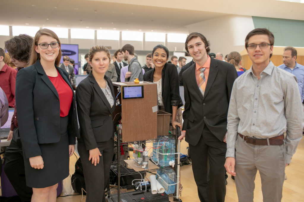 Florida Poly students presenting senior Capstone project at the 2019 Capstone Design Showcase.