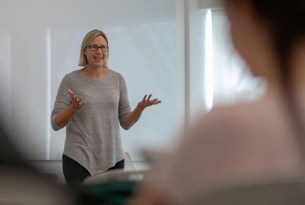 Susan LeFrancois professor teaching in classroom.