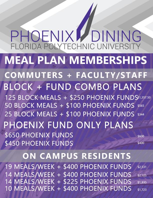 Fall 2018 Spring2019 Meal Plan
