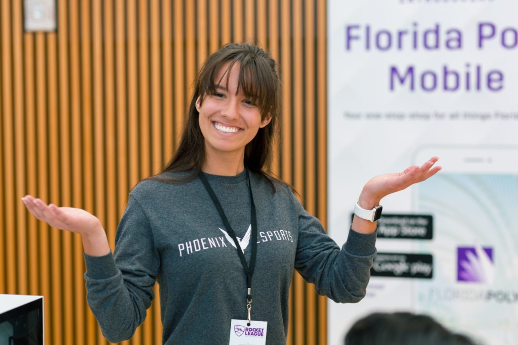 Female Florida Poly student at e-sport competition