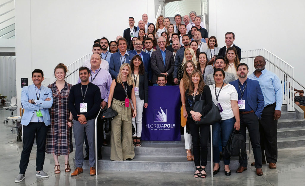 Dozens of executives from Argentina, Uruguay, Colombia, and Costa Rica tour the Florida Polytechnic University campus in Lakeland, Florida, on Aug. 30. The visit was part of Experiencia Set, an initiative designed to help business leaders gain skills to strengthen their operations.