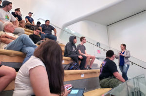 Group of people sitting during a lecture.
