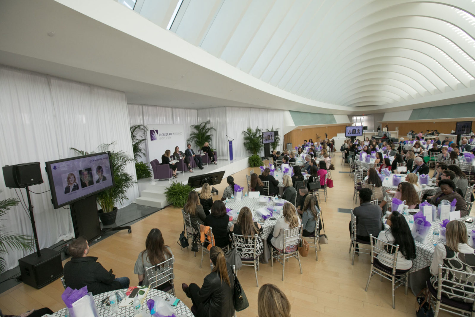 Crowd of people at the Women in STEM summit at Florida Polytechnic Unviersity